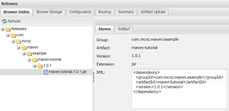 Maven Nexus repository tutorial completed