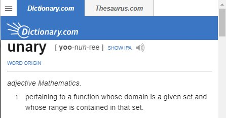 Definition of the term unary.