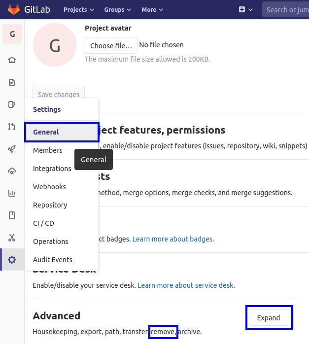 remove GitLab project delete