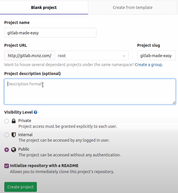 GitLab create project wizard