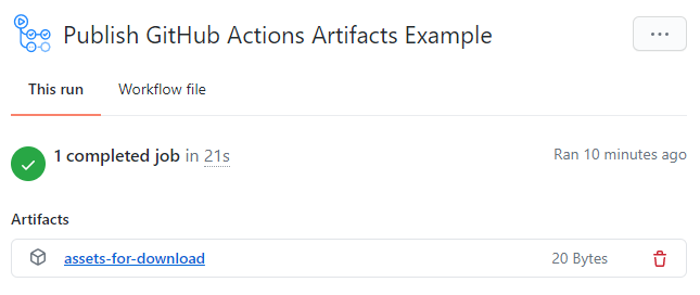 github action artifact