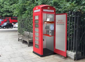 Telephone box workstations